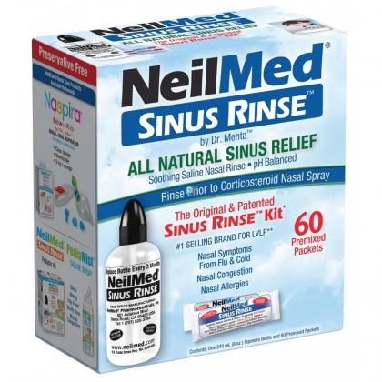 NEILMED SINUS RINSE KIT 60 PREMIXED SACHETS WITH 240ML BOTTLE