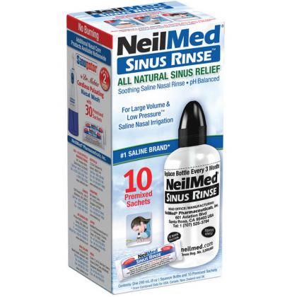NEILMED SINUS RINSE 10 PREMIXED SACHETS WITH 240ML BOTTLE
